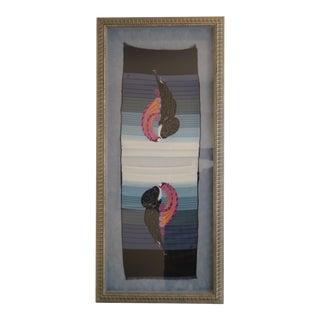 Vintage Framed Erte Beauty & Beast Silk Scarf