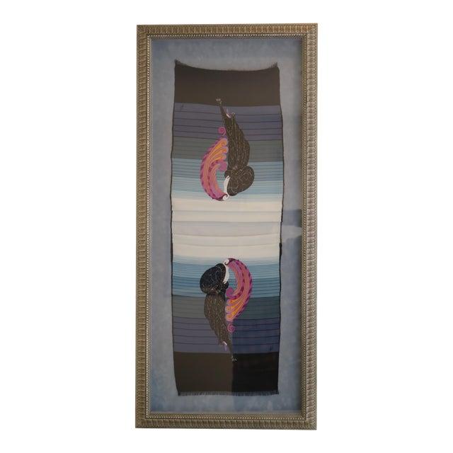Vintage Framed Erte Beauty & Beast Silk Scarf For Sale