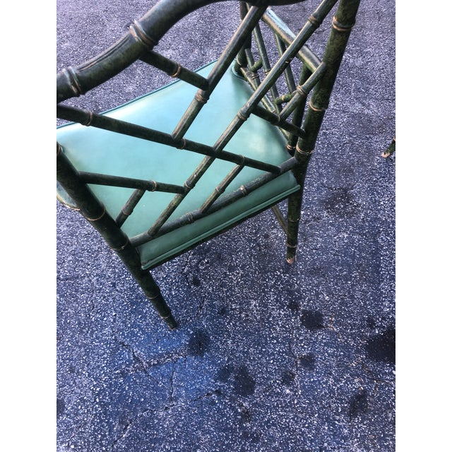 Leather Antique Painted Malachite Arm Chair For Sale - Image 7 of 10