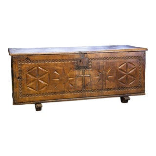Spanish Trunk/Chest with Wood-Hinged till and Original Forged Iron, circa 1680 For Sale