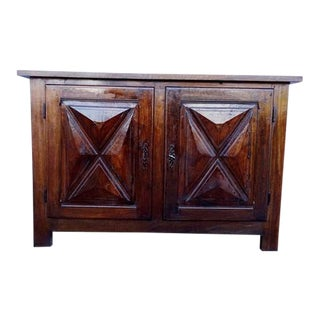 Antique French Country Rustic Oak 2 Door Buffet Sideboard Cabinet