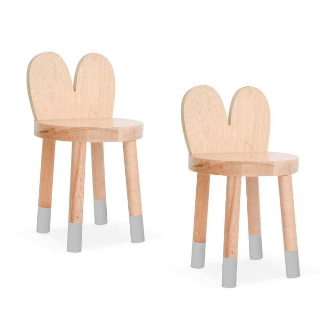 Nico & Yeye Nico & Yeye Lola Kids Chair Solid Maple and Maple Veneers Gray - Set of 2 For Sale - Image 4 of 4