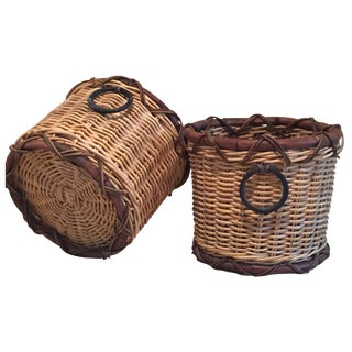 Rattan Baskets - A Pair For Sale