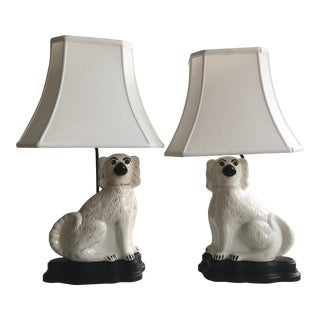 Custom White Staffordshire Dog Lamps - a Pair For Sale