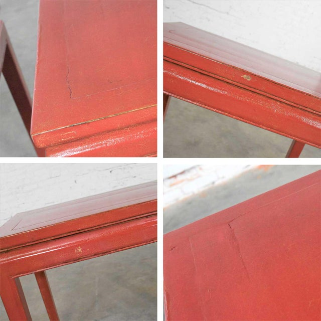Mid 20th Century Asian Ming Style Chinese Crackle Red Lacquer Rectangular End Tables - a Pair For Sale - Image 9 of 13