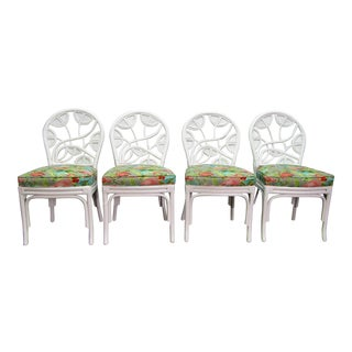 Vintage Mid Century Ornate Pencil Reed Rattan Chairs- Set of 4 For Sale
