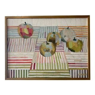 Mid Century Bold Graphic Collage of Apples and Stripes For Sale