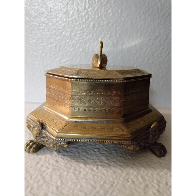 Brass Vintage Mottahedeh Brass Swan Finial Paw Feet Trinket Box For Sale - Image 8 of 8