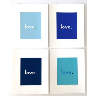 """""""Blue Splash"""" Contemporary Love Giclee Prints by Neicy Frey - Set of 4 For Sale"""