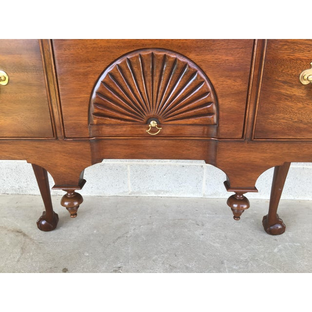 Late 20th Century Henkel Harris Solid Mahogany Chippendale Style Ball & Claw Highboy For Sale - Image 5 of 12