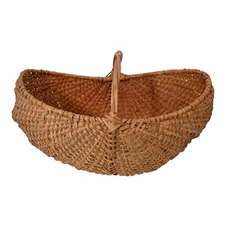 Large Early 20th Century American Splint Oak Buttocks Basket For Sale