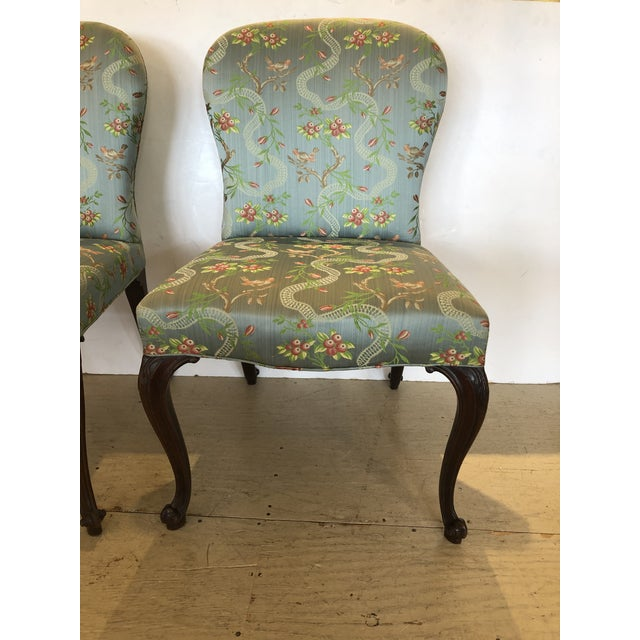 Traditional 18th Century Georgian Side Chairs Dressed Up in Scalamandre Upholstery -A Pair For Sale - Image 3 of 13