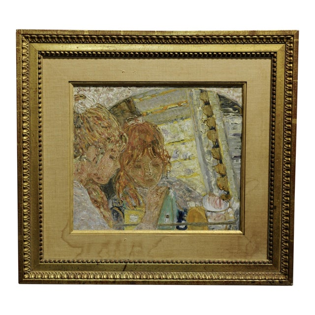 Helene Girod De l'Ain -Girl in the Mirror -French Oil Painting C.1930s For Sale