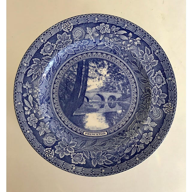 Wedgwood 1930 Wedgwood Princeton University Blue and White Dinner Plate Set of 9 For Sale - Image 4 of 12