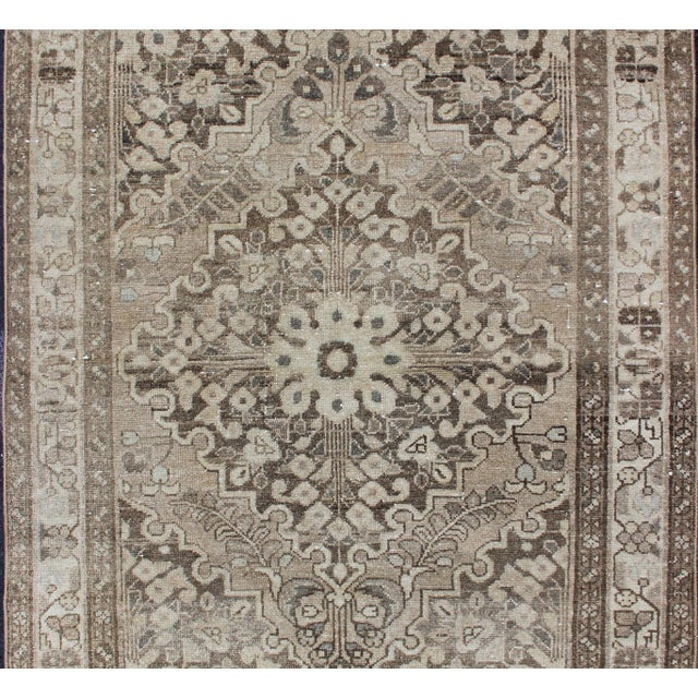 Vintage Persian Lilihan rug with center medallion in neutral tones, rug h-711-39, country of origin / type: Iran /...
