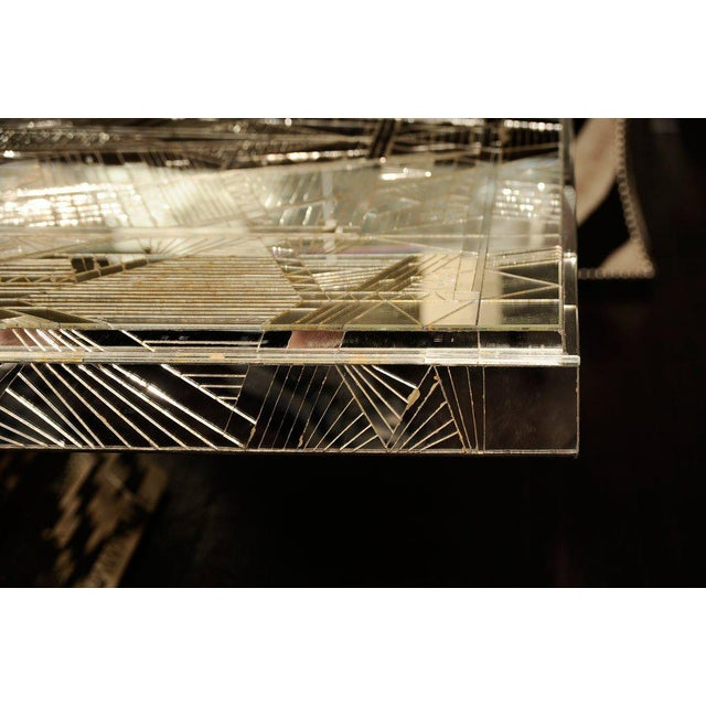 French Art Deco Style Mirrored Table For Sale - Image 4 of 10