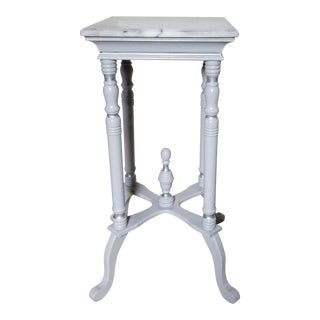 Shabby Chic Small Gray Marble Top Victorian Plant Stand For Sale