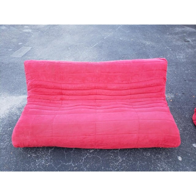 Ligne Roset Ligne Roset Togo-Style Red Sofa and Chair - A Pair For Sale - Image 4 of 7