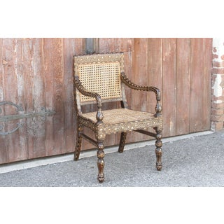 Dark Brown Anglo Indian Bone Inlay Arm Chair Preview