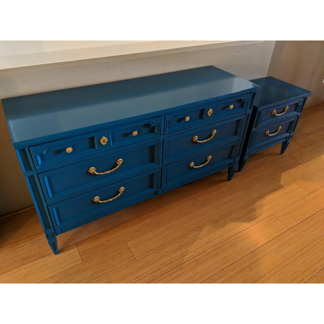 1960s Italian Basic Witz Blue High Gloss Six-Drawer Dresser and Nightstand Set - 2 Pieces For Sale - Image 9 of 12