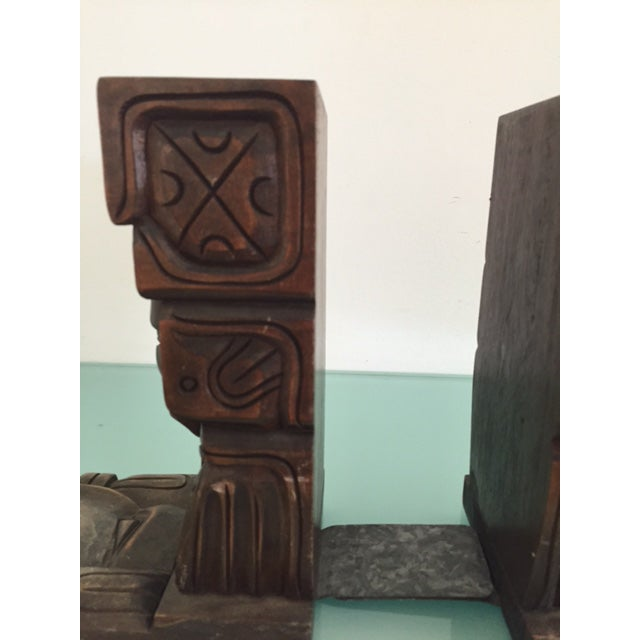 Vintage Wood Carved Aztec Bookends - A Pair - Image 6 of 8