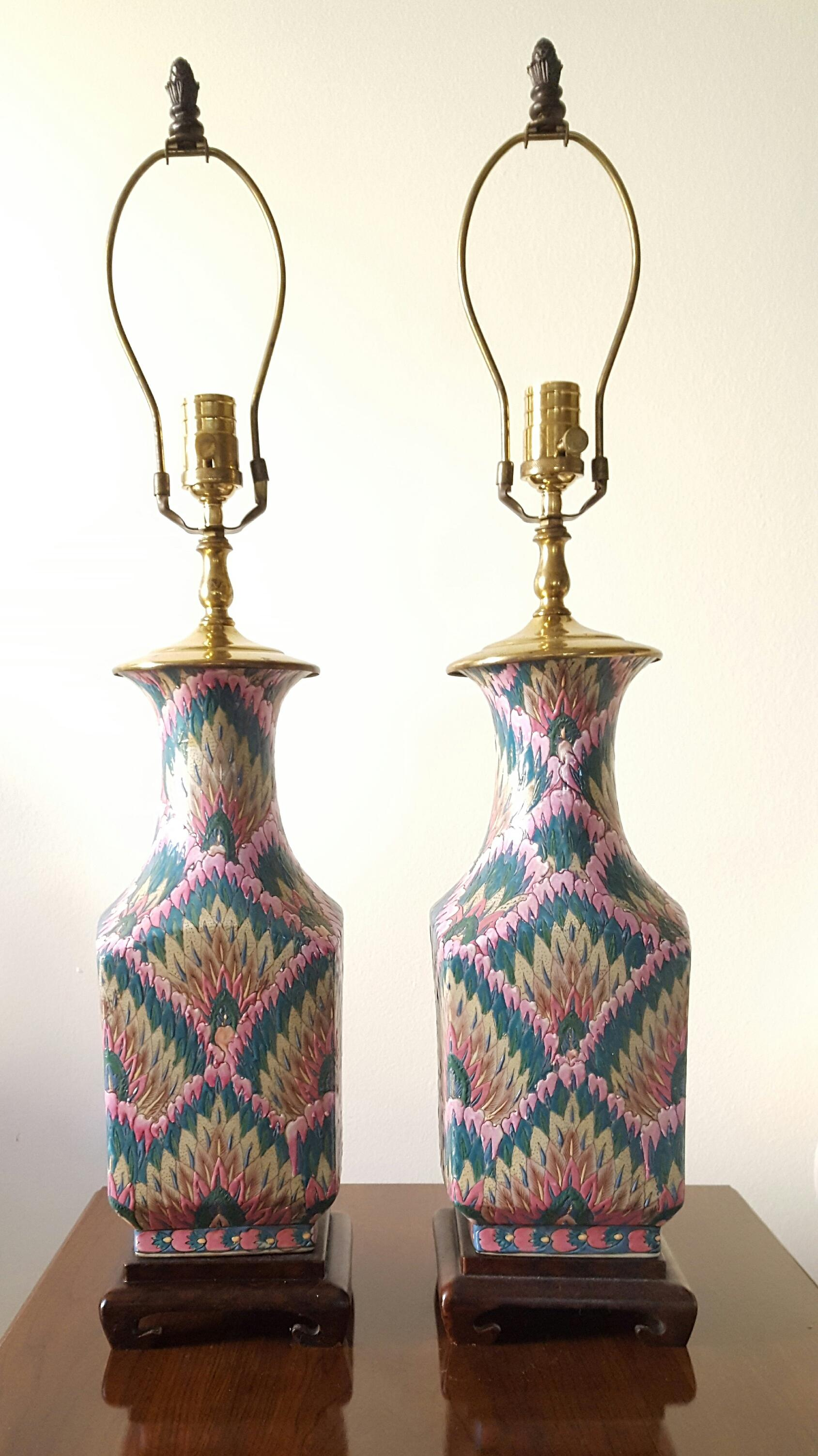 Vintage Heyward House Chinoiserie Table Lamps A Pair   Image 2 Of 7