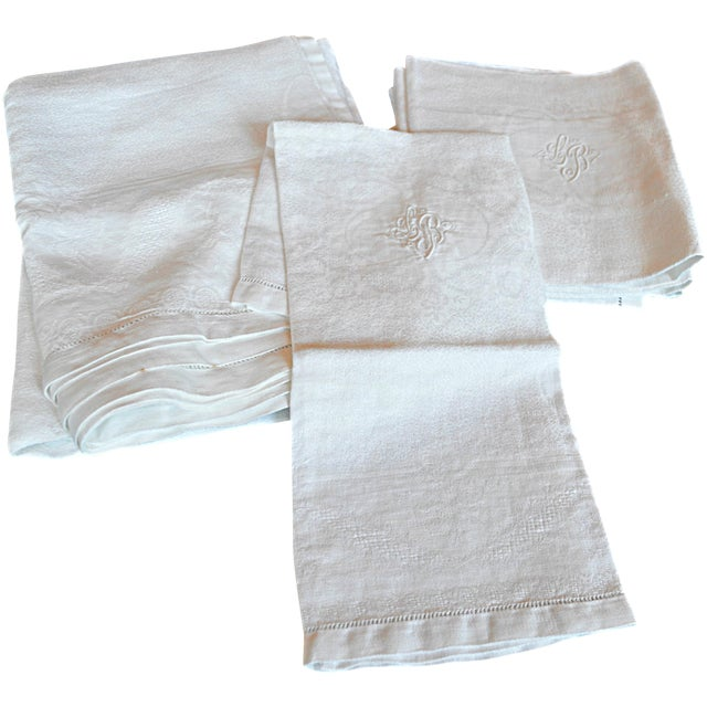 Monogrammed Antique French Table Linens - Set of 7 - Image 1 of 7