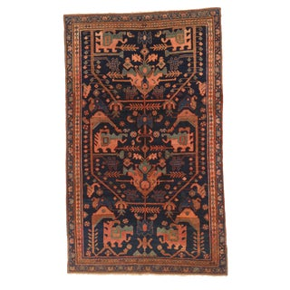 Antique Persian Hamedan Rug With Red & Green Mixed Animal & Floral Patterns For Sale