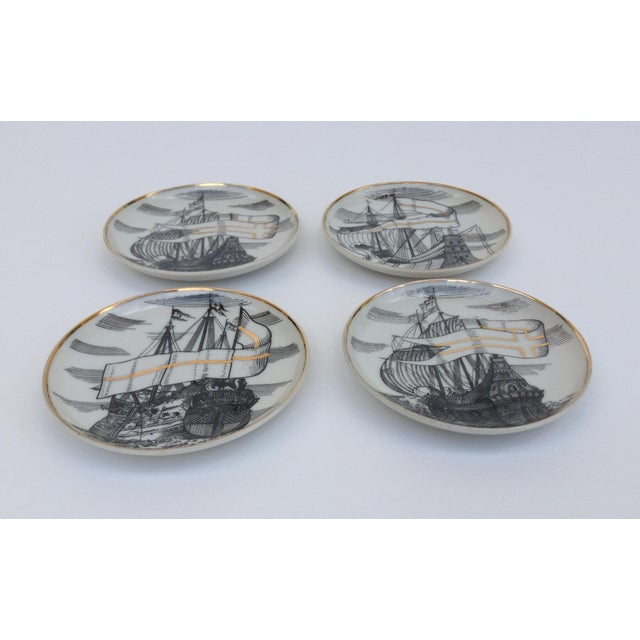 "Fornasetti Attr. Tall Ships ""Velieri"" Coasters - Set of 4 For Sale - Image 10 of 11"