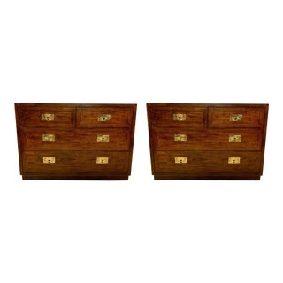 Pair of Campaign Style Chests Att. To Henredon For Sale