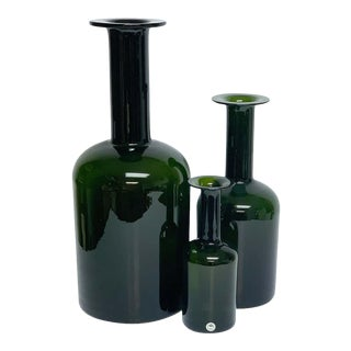 Three Graduating Olive Glass Bottle Vases, by Otto Brauer for Holmegaard- Set of 3 For Sale