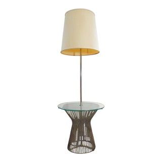 Knoll Warren Platner Vintage Modern Chrome Floor Lamp /Table with Shade For Sale