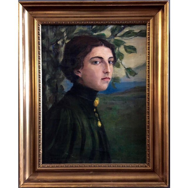 Paint 19th Century O/C Portrait of a Girl, Scandinavian For Sale - Image 7 of 7