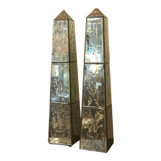 Mirrored and Etched Obelisks - a Pair For Sale