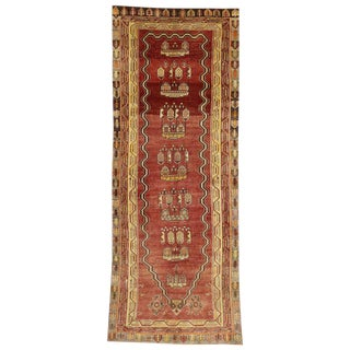 20th Century Turkish Oushak Prayer Rug Runner - 4′ × 10′3″ For Sale