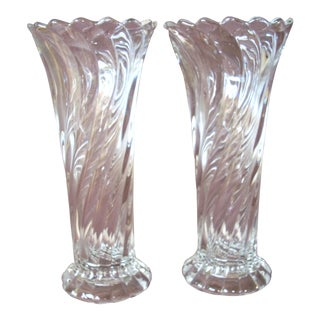 Vintage Swirl Design Glass Vases - A Pair