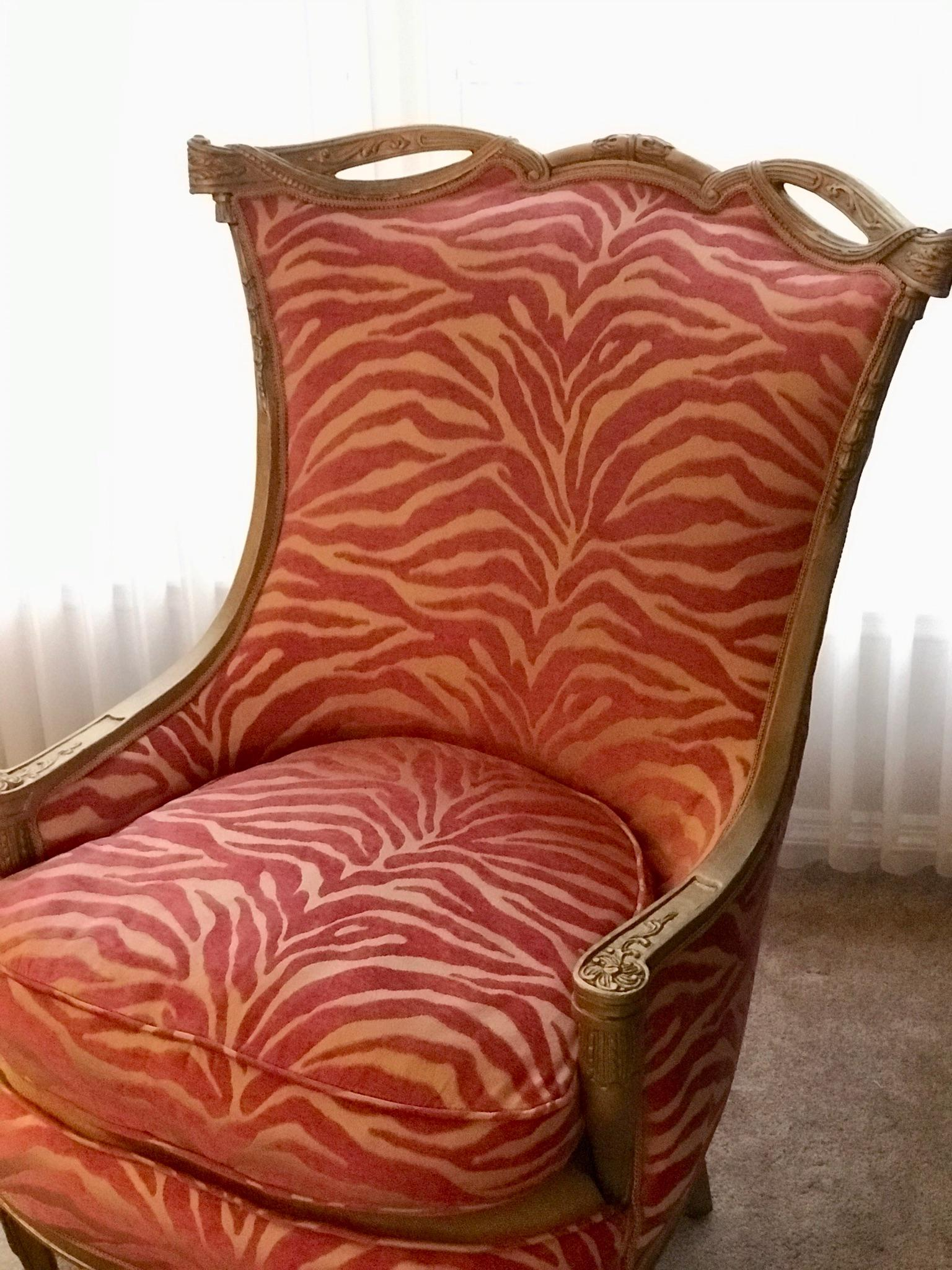 Charming Pink Zebra Print Upholstered Chair With Gold Frame   Image 3 Of 7