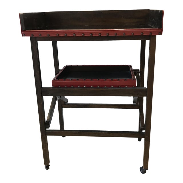 Vintage Leather & Wood Two-Tray Table - Image 1 of 6