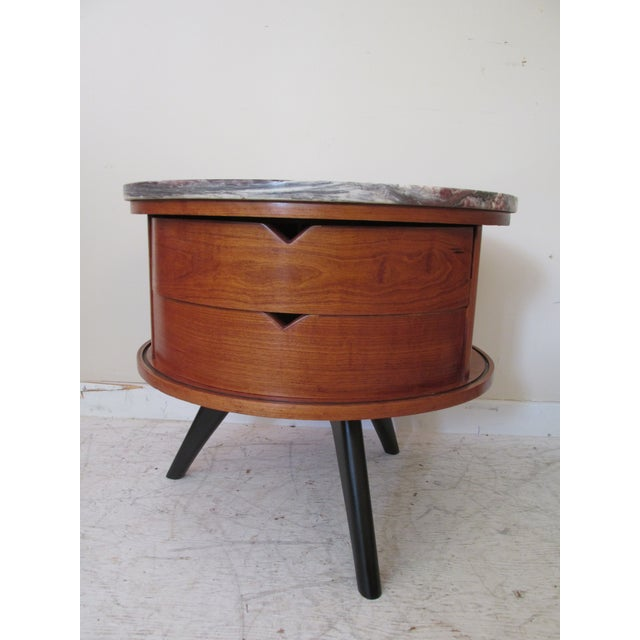 Round Side Tables with Marble Tops - A Pair - Image 3 of 8