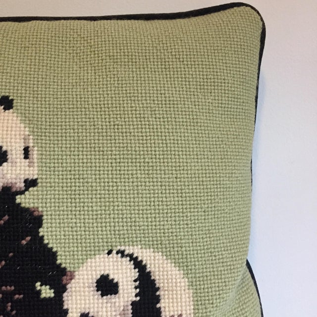 Asian Needlepoint Panda Pillow For Sale - Image 3 of 10