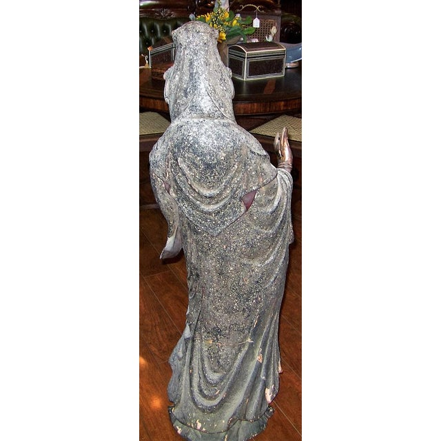 PRESENTING A STUNNING 19C Asian Wooden Carved, Painted & Gilded Guanyin Statue.. LARGE.....a floor piece. This Wooden...