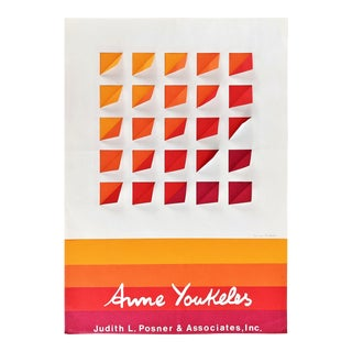 1970s Vintage Anne Youkeles Op Art Pencil Signed Poster Print For Sale