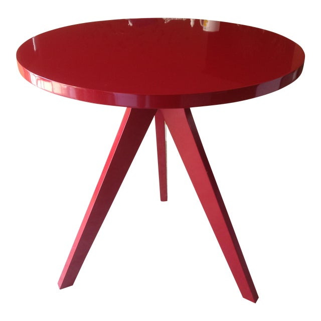 CB2 Modern Red Lacquered Tripod Table - Image 1 of 4
