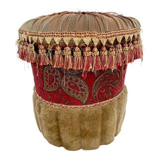 1950s Velvet Silk Mohair Round Pouf Ottoman For Sale