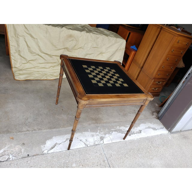 """Hollywood Regency 1980s Hollywood Regency Drexel """"Et Cetera"""" Game Table Leather Top Game Table For Sale - Image 3 of 11"""