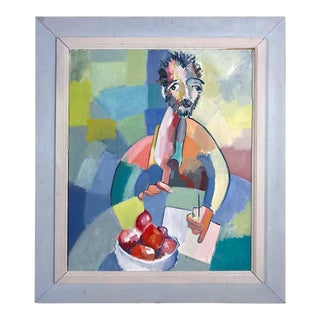 Mid-Century Man With Apples Portrait Painting For Sale