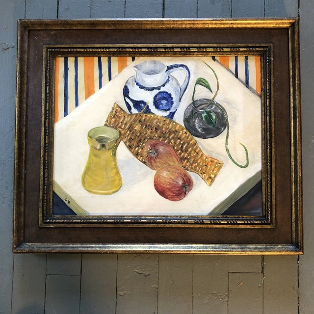 1960s Vintage Original Still Life Painting Mid Century Modern For Sale - Image 5 of 5
