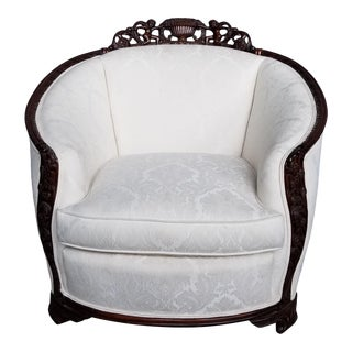 1940s French Art Deco Ornate Carved Wood Curved Tub Chair For Sale