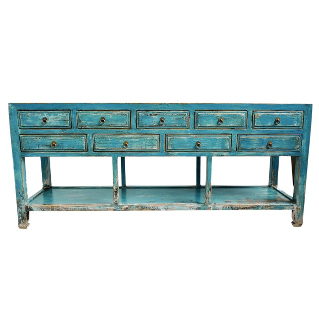 Blue Distressed Drawer Console For Sale