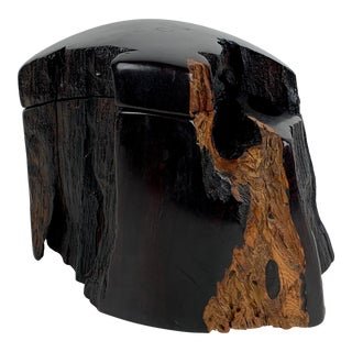 1980's Sculptural Black Walnut Wood Box by Jeffrey Seaton For Sale